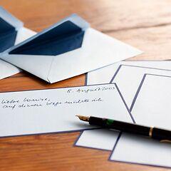 25 A5 Briefbögen & Umschläge Crown Mill weiß/blau