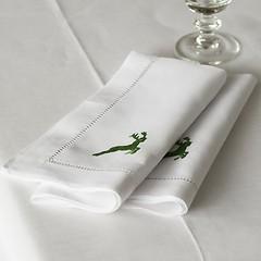 Serviette 50 x 50 cm Grüner Hirsch Leinen