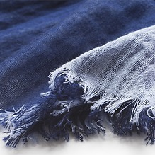 Kashmir Loom Double Face Sommerschal aus Wolle Navy