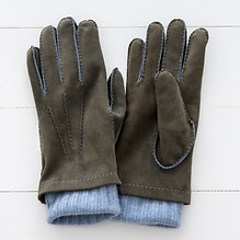 Herren Handschuh mit Stulpe Khaki/Hellblau Gr. 7,5