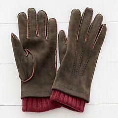 Herren Handschuh mit Stulpe Braun/Bordeaux Gr. 7,5