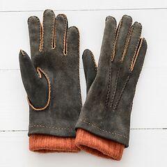Damen Handschuh mit Stulpe Grau/Orange Gr. 6,5