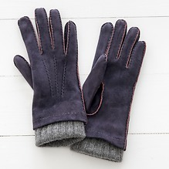 Damen Handschuh mit Stulpe Lila/Grau Gr. 6,5