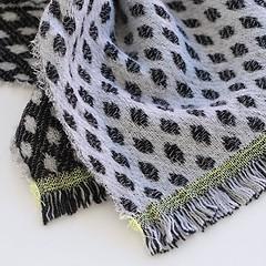 Sara Mantignoni Schal Schwarz-Grau mit Grünem Streifen