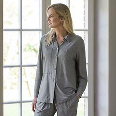 Sunday in Bed Pyjamashirt Langarm Grau