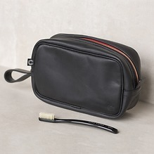 Croots Vintage Leather Washbag Schwarz