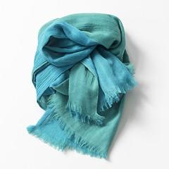 Lambswool-Schals von Kashmir Loom Blaugrün und Türkis