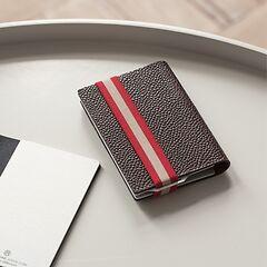 Q7 Wallet Braun mit rot gestreiftem Band