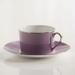 Porcelaine de Limoges Frühstückstasse mit Untertasse Lila