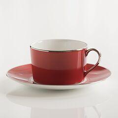 Porcelaine de Limoges Frühstückstasse mit Untertasse Himbeerrot