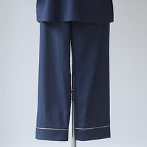 Lore's Damen Pyjama India Hose nachtblau/silbergrau