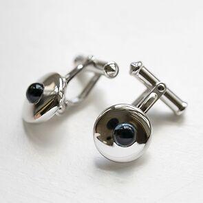 Spreckelsen Manschettenknöpfe Silber rhodiniert, rund