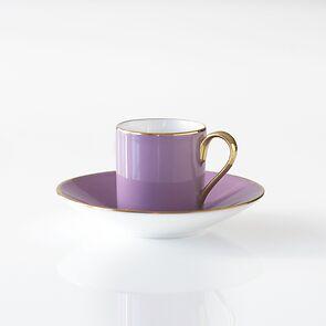 Porcelaine de Limoges Mokkatasse mit Untertasse Violett