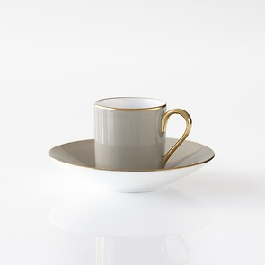 Porcelaine de Limoges Mokkatasse mit Untertasse Perlgrau