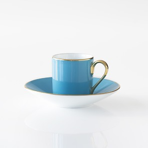Porcelaine de Limoges Mokkatasse mit Untertasse Türkis