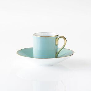 Porcelaine de Limoges Mokkatasse mit Untertasse Mintgrün