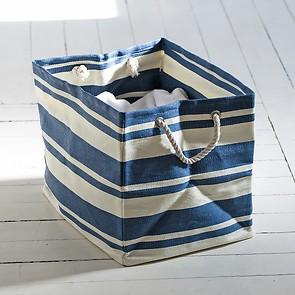 Wäschetasche Blau/Weiß klein