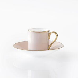 Porcelaine de Limoges Mokkatasse mit Golddekor Rosa