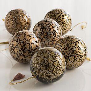 6 Papiermaché Christbaumkugeln Udhampur Schwarz und Gold