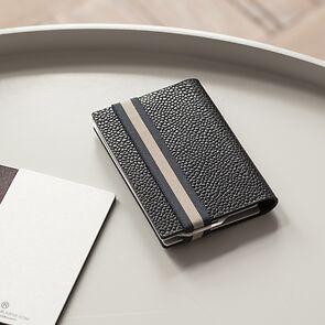 Q7 Wallet Schwarz mit dunkelblau gestreiftem Band