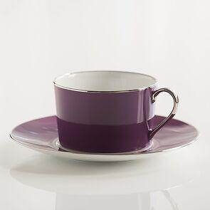 Porcelaine de Limoges Tasse mit Untertasse Amethyst