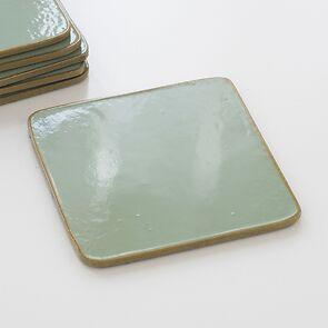 6 Untersetzer 10,5 x 10,5 cm Greenstone/Gold
