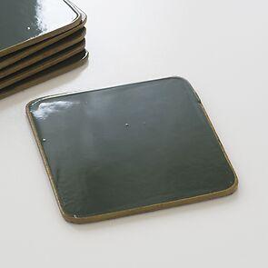 6 Untersetzer 10,5 x 10,5 cm Green/Gold