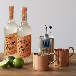 Moscow Mule Cocktail-Set mit 2 Kupferbechern