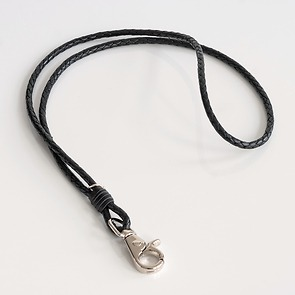Schlüsselband aus Leder Schwarz