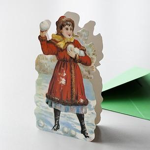 Grußkarte Schneeballwerferin