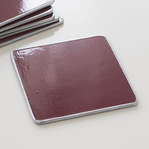 6 Untersetzer 10,5 x 10,5 cm Bordeaux/Silver