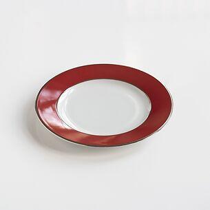Porcelaine de Limoges Kuchenteller Platindekor Himbeerrot