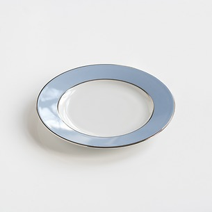 Porcelaine de Limoges Kuchenteller Platindekor Eisblau