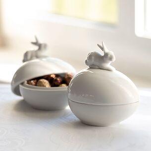 Porzellandose Ei und Hase