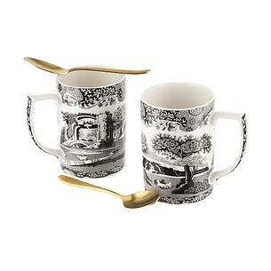 Spode Black Italian Kaffeebecher-Set mit Löffel