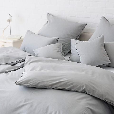 Torquato Bettbezug Herringbone 135 x 200 cm Grau mit Paspel