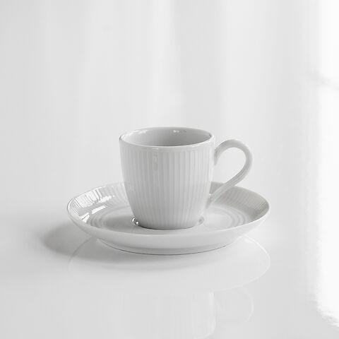 Pillivuyt Plissé Espressotasse mit Untertasse