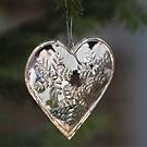 Christbaumanhänger Herz mit Schneeflocke