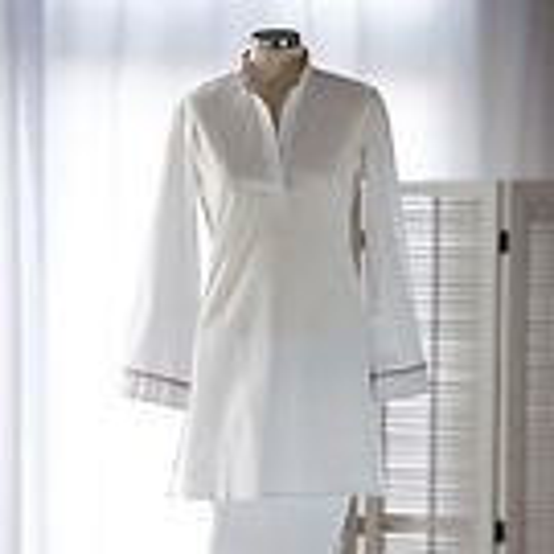 Lore's Damen Pyjama India Oberteil Paspel grau