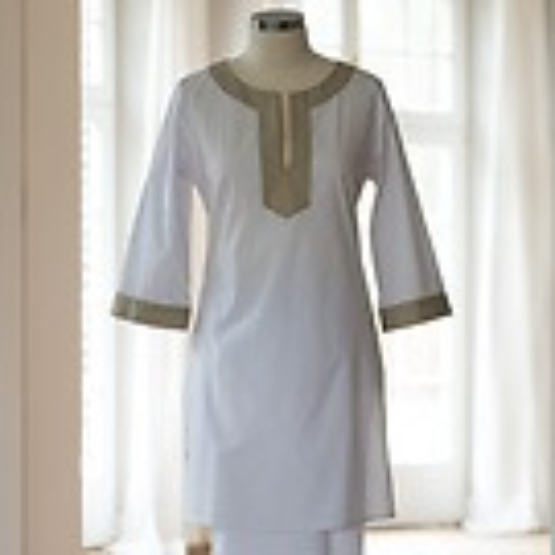 Lore's Damen Pyjama Sahara Oberteil weiß/schlamm