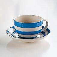 4 Cappuccino Tassen Cornishware Blau
