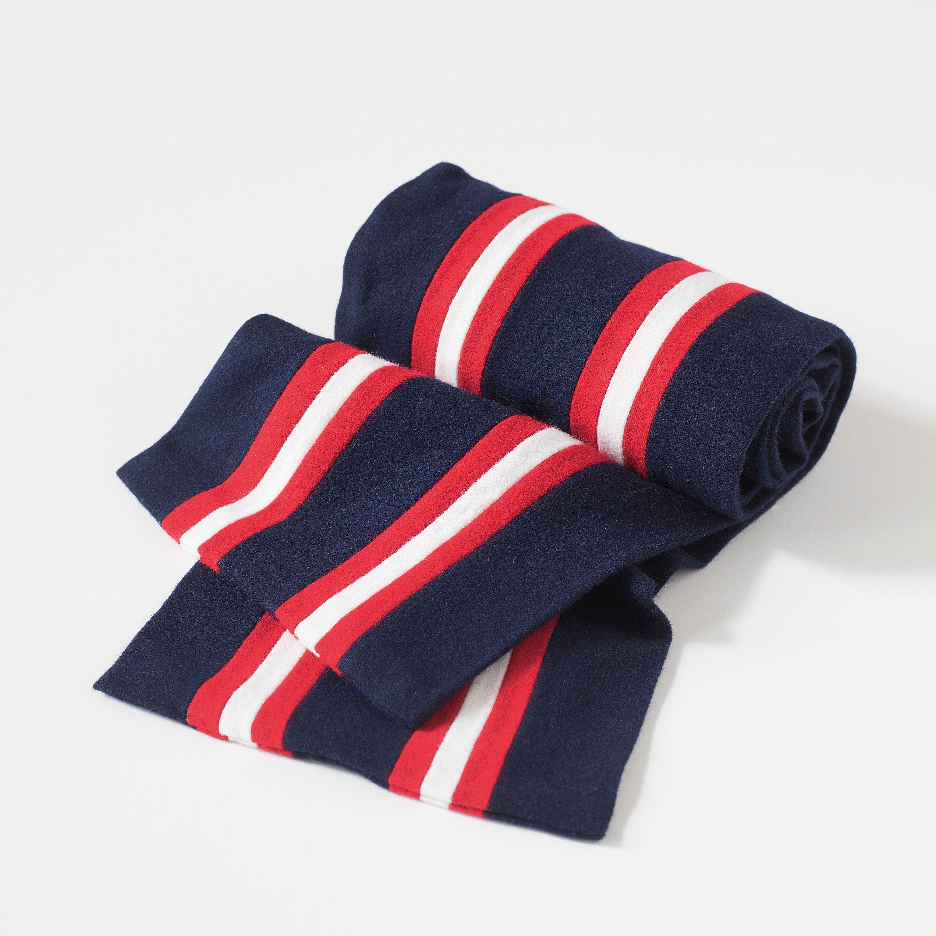 Englischer College Schal Blau Mit Rot-Weißen Streifen Bei