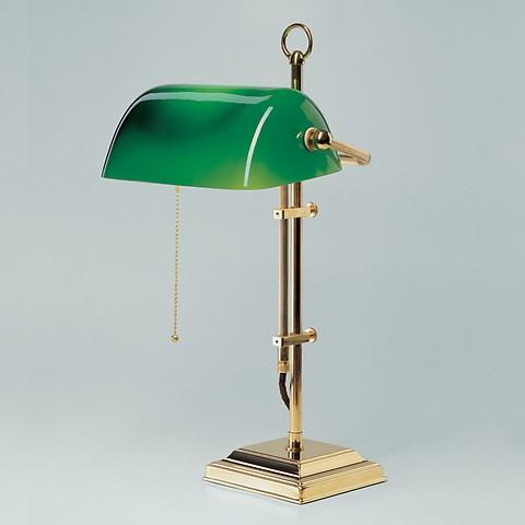 Berliner Messing Bankers Lamp grüner Schirm