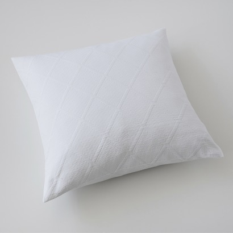 Kissenbezug Rauten 50 x 50 cm Weiß