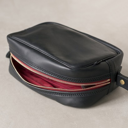 Croots Vintage Leather Washbag Black
