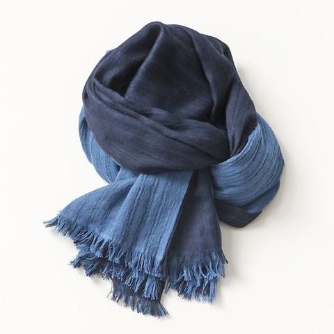 Lambswool-Schal Indigo und Nachtblau