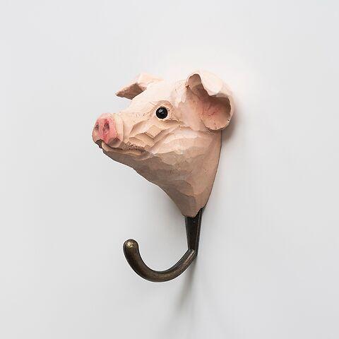 Handgeschnitzter Kleiderhaken Schwein