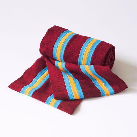 Englischer College Schal Rot mit Grau-Gelben Streifen