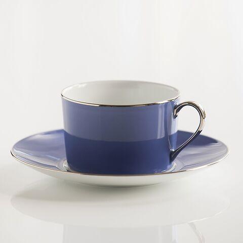 Porcelaine de Limoges Tasse mit Untertasse Französisch Blau