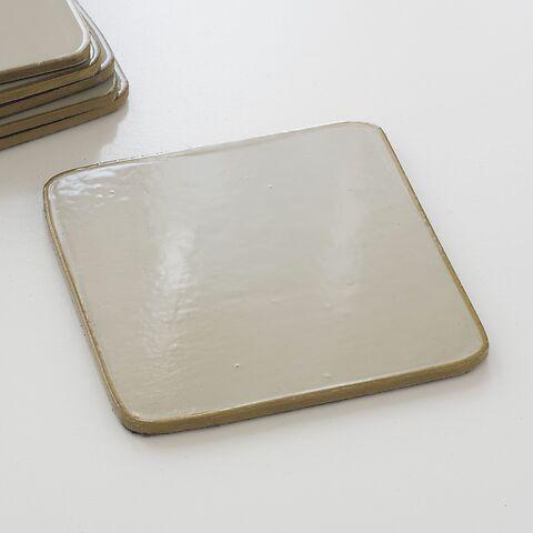 6 Untersetzer 10,5 x 10,5 cm Bone/Gold